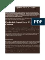 Karakteristik Operasi Motor DC Shunt