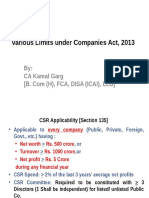 Various Limits Under Companies Act, 2013 [CA Final]