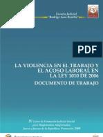 La Violencia en El Trabajo y El Acoso Laboral en La Ley 1010