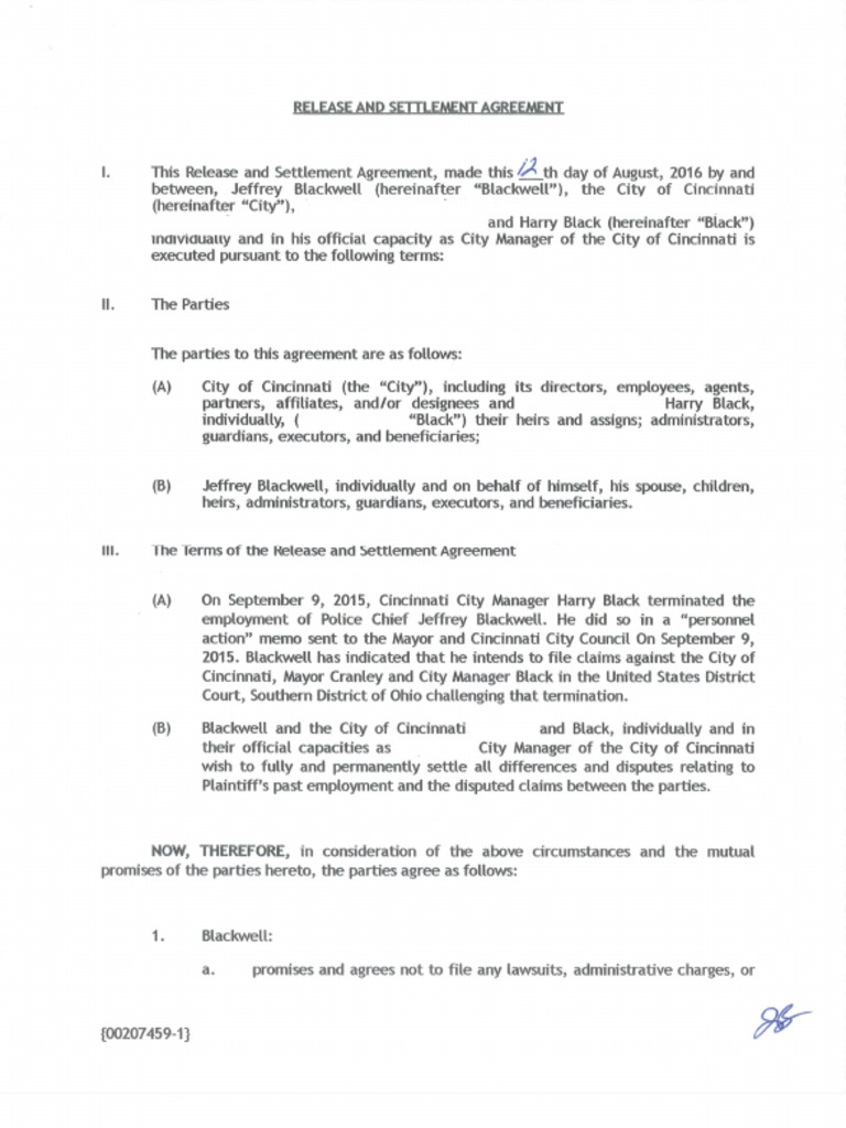 Release And Settlement Agreement Blackwell Black Society