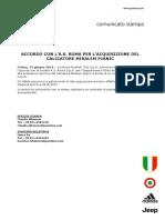 Comunicato 13062016 Pjanic Ita