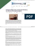 El Nuevo Codigo Civil y Comercial Unificado y Sus Efectos en La Empresa Agraria(1)