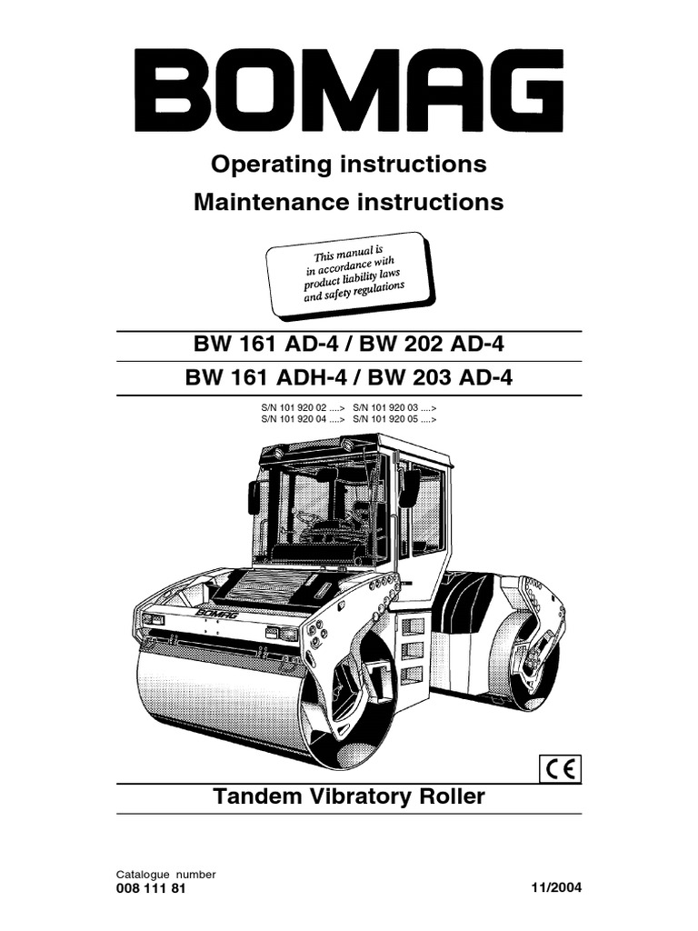 bomag roller bw202ad 4 operation manual switch screw rh es scribd com 2005 Bomag Roller Wacker Neuson Roller