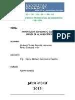 Inf. Import. Econ. Ecol. y Social de La Agrofor.