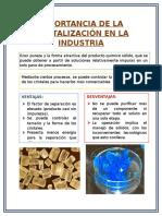 Importancia de La Cristalización en La Industria