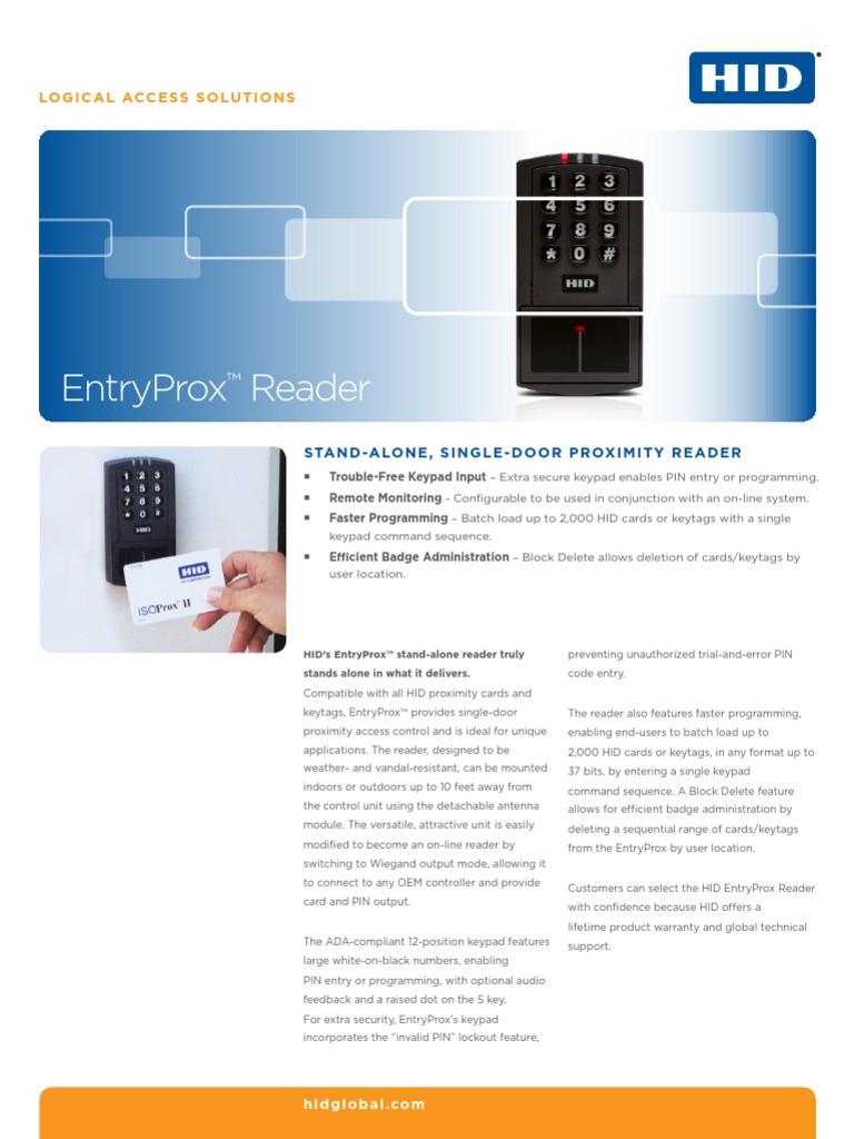 Prox Enrtyprox Revc Reader Ds en pdf0 | Access Control | Relay