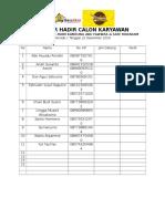 Daftar Hadir Calon Karyawan