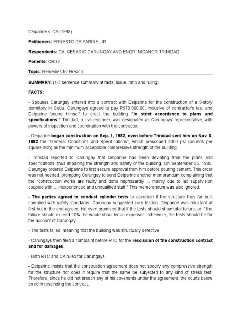 Deiparine V Ca Breach Of Contract Rescission