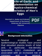 The Effects of Garlic and Tea Supplementation on Some Physico-chemical Characteristics of Hen's Eggs