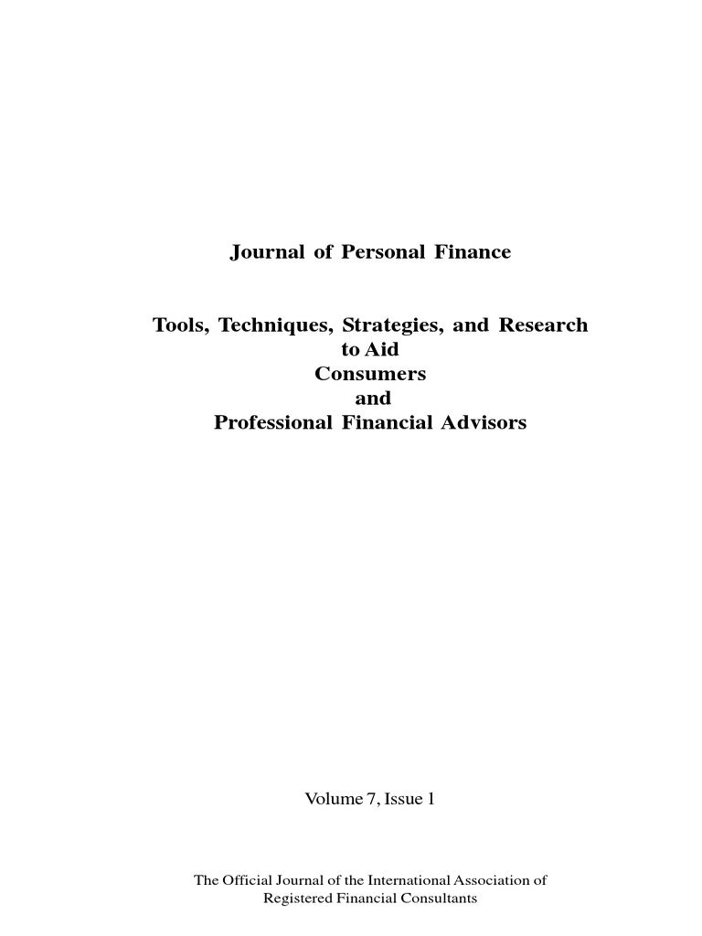 rosilyn h overton journals of personal finance pdf capital