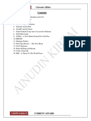 Complete Current Affairs 2017 pdf | India–Pakistan Relations | Pakistan