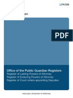 LPA109 Office of the Public Guardian Registers Guidance