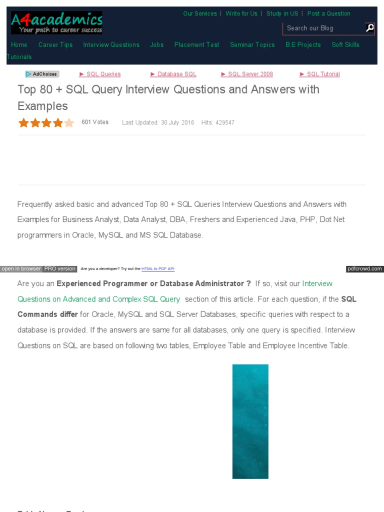 a4academics Com Interview Questions 53 Database and SQL 397