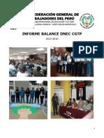 Informe Balance Departamento Nacional de Educación (DNEC) de la Confederación General de Trabajadores del Perú (CGTP) 12 al 16