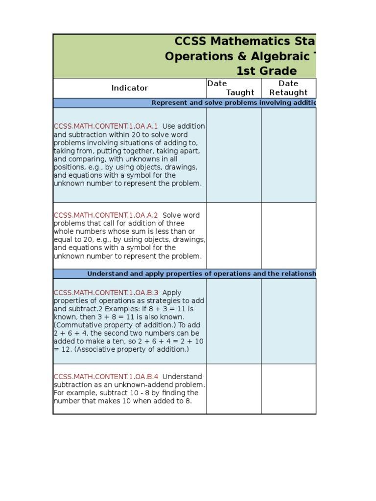 1 St Math Checklists 2 | Shape | Physics & Mathematics