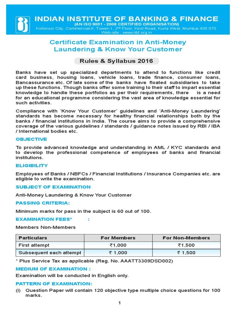 CEAML_KYC pdf | Money Laundering | Test (Assessment)