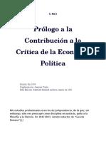 Marx K - Prólogo a La Contribucion Critica de La Economía Política