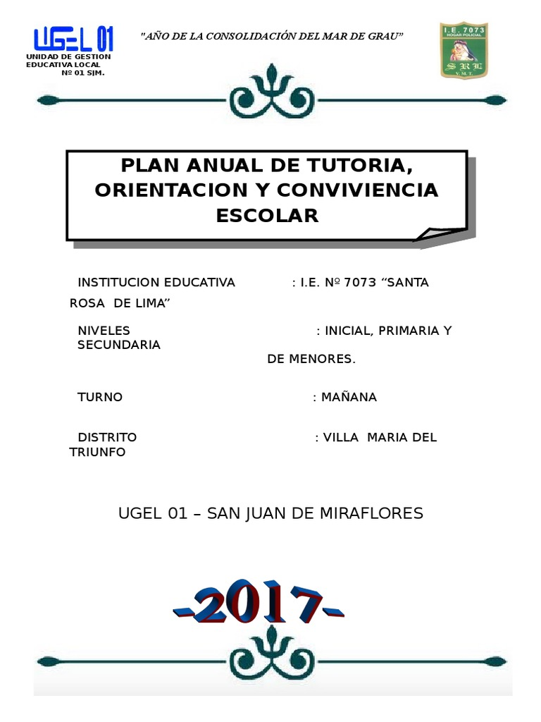 PLAN DE TRABAJO TUTORIA 2017