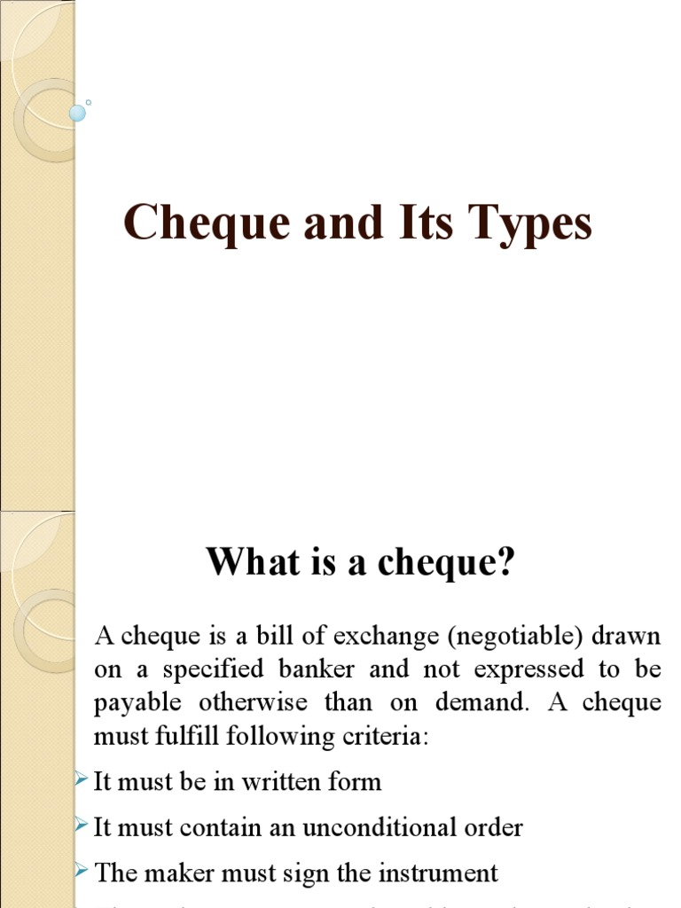 Is cheque what a Order Personal