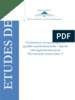 Croissance Économique Et Qualité Institutionnelle
