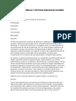 Planes de Desarrollo y Políticas Publicas en Colombia