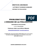 Origine de La Philosophie Universite de Lubumbashi(1)