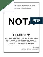 Nota ELMK3072 Perancangan dan Pelaksanaan Pengajaran dan Pembelajaran dalam Pendidikan Moral LENGKAP PADAT