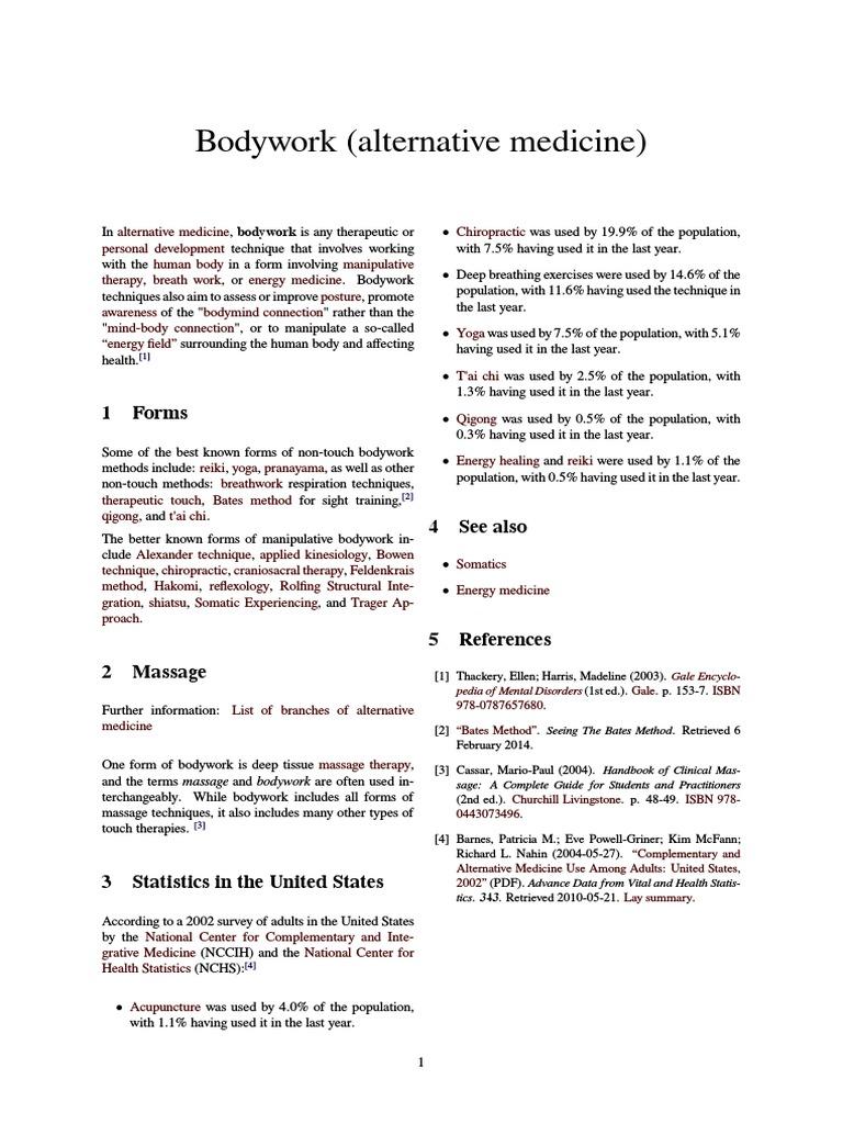Bodywork (alternative medicine) pdf | Alternative Medicine