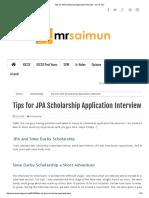Tips for JPA Scholarship Application Interview - Mr Sai Mun