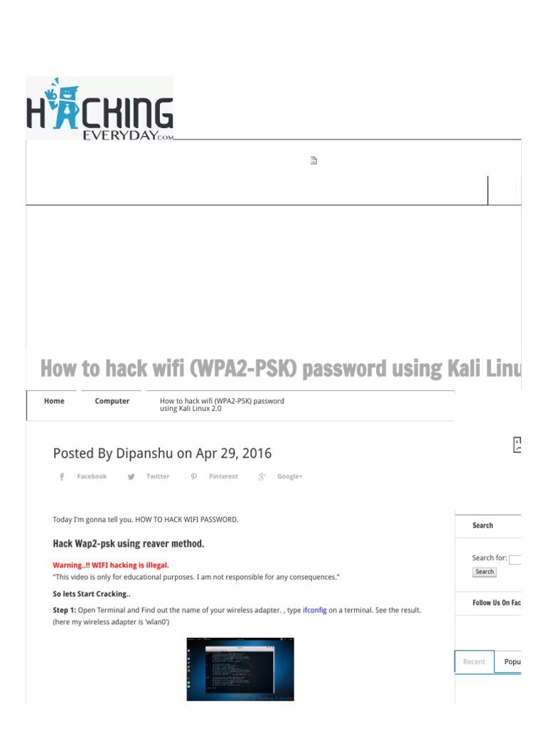 Crack Wifi Password Kali Linux Reaver Crack WPA WPA2 WiFi