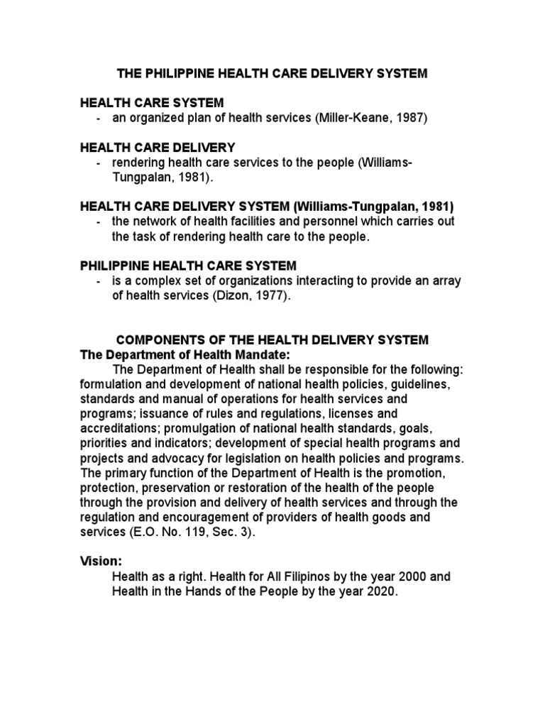 The Philippine Health Care Delivery System