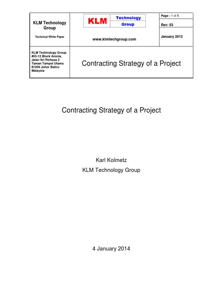 Contracting Strategy of a Project Rev 03 | Project