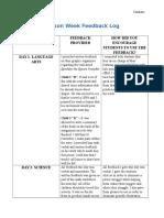 lesson week feedback log