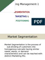 I. Market Segmentation, TARGETING &