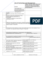 Checklist and Reports by the Employees