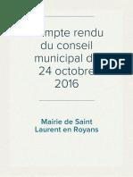 Compte rendu du Conseil Municipal du 24 octobre 2016