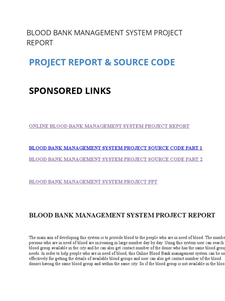 BLOOD BANK MANAGEMENT SYSTEM PROJECT REPORT docx | Blood Donation