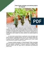Manual Ensina a Fazer Hortas Verticais Com Sistema Próprio de Irrigação