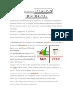 DEFINICIÓN DEPALABRAS HOMÓFONAS