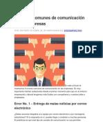 5 Errores Comunes de Comunicación en Las Empresas