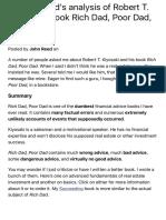 John T. Reed's Analysis of Robert T. Kiyosaki's Book Rich Dad, Poor Da