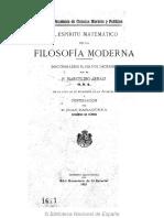 El espíritu matemático de la filosofía moderna - P. Marcelino Arnáiz