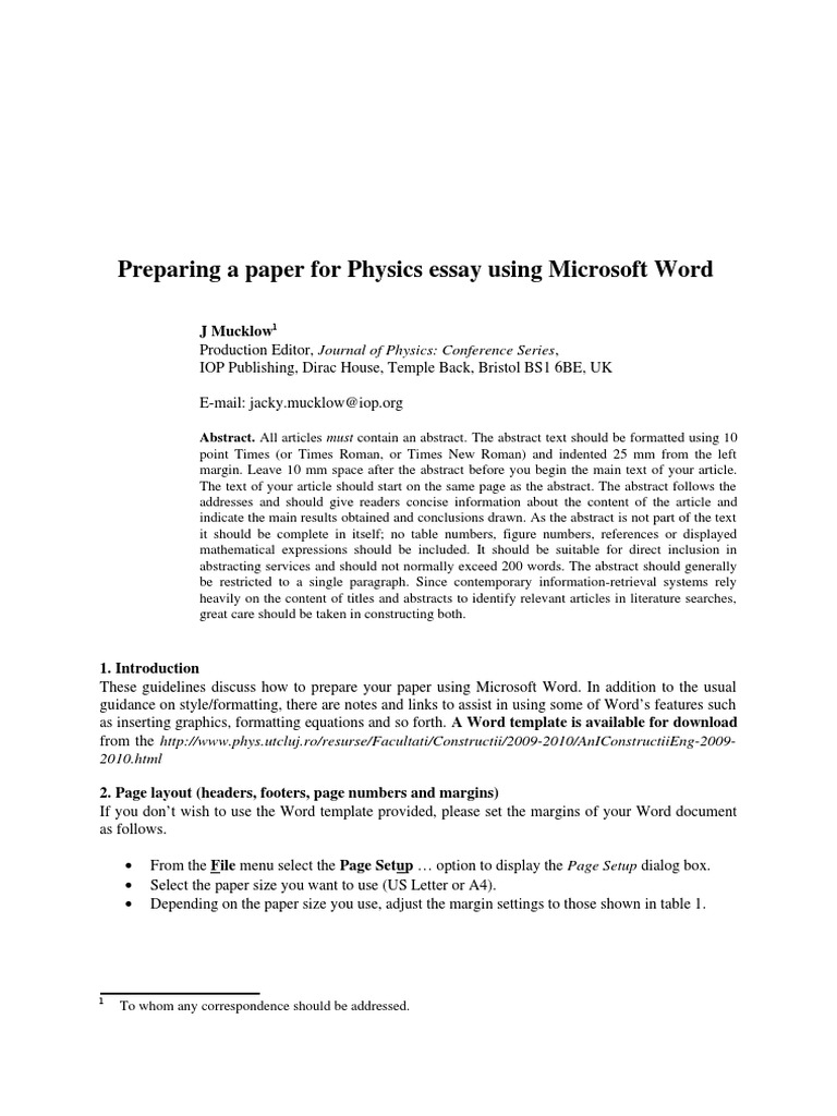 The Template For Physics Essayc Bracket Abstract Summary