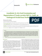 Asymbiotic in Vitro Seed Germination and Regeneration of Vanda Coerulea Giff. Ex. Lindl., An Endangered Orchid From Northeast India