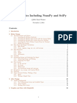 Python Basics Including Numpy And Scipy: C 2014 Mark Wickert