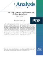 The DISCLOSE Act, Deliberation, and the First Amendment, Cato Policy Analysis No. 664