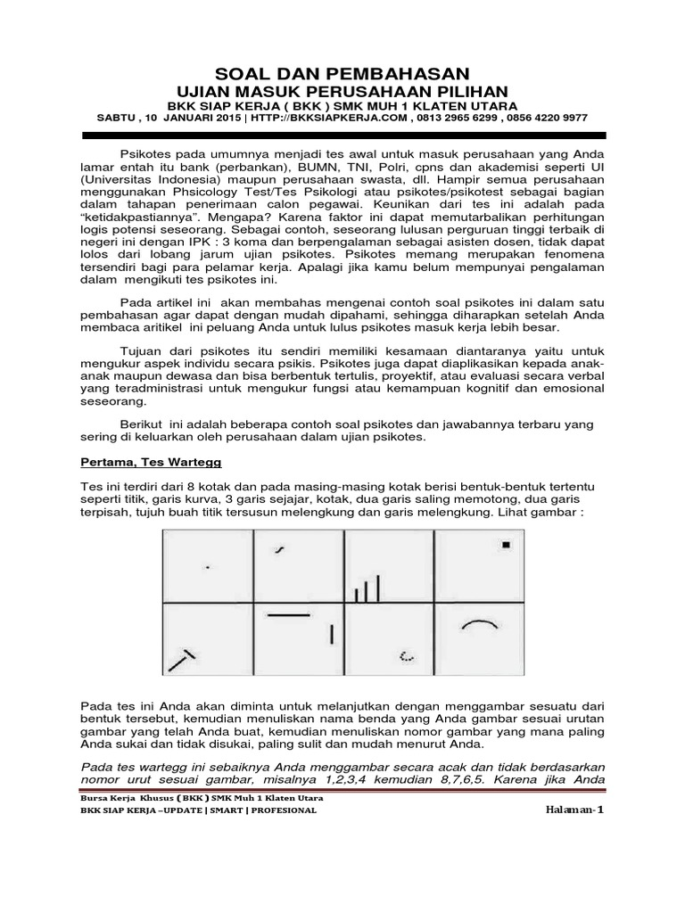 Materi Pra Test Bkksiapkerja Smk Muh Klaten Utara