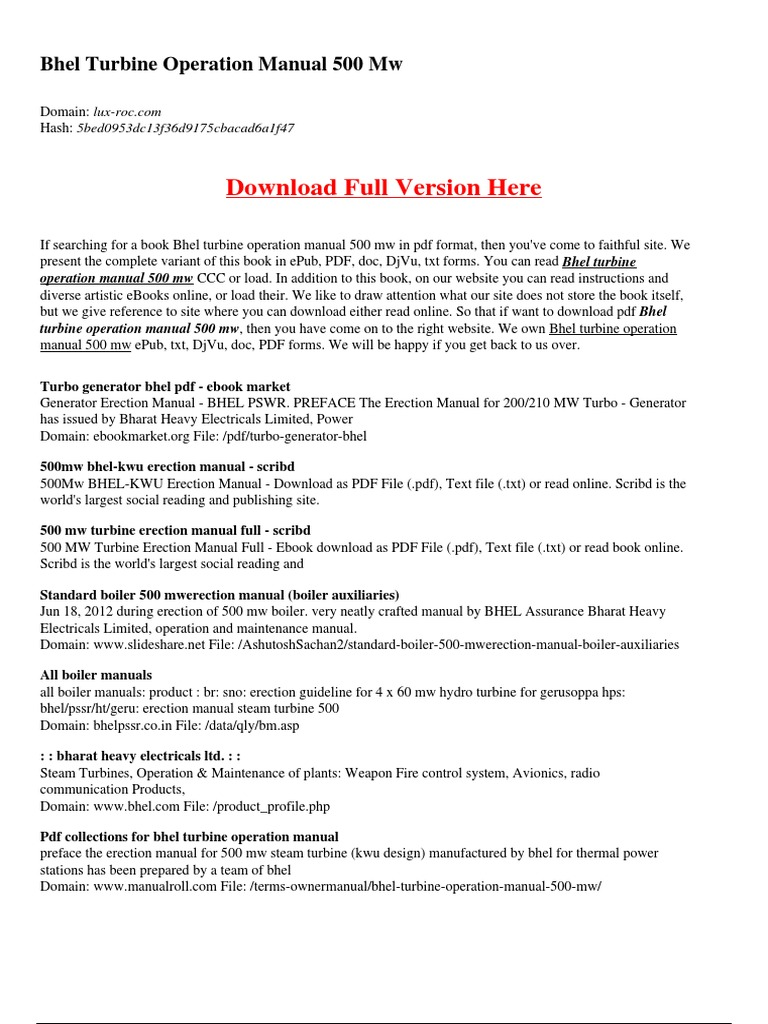 bhel turbine operation manual 500 mw energy technology energy rh pt scribd com