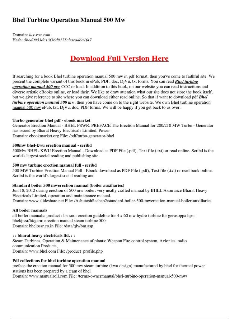Bhel Turbine Operation Manual 500 Mw | Energy Technology | Energy Conversion