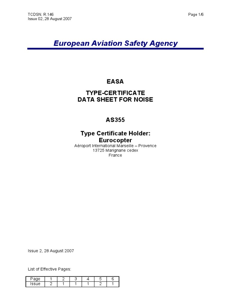 Easa Tcds R146eurocopteras355 02 28082007pdf Transport Safety